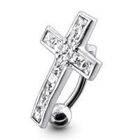 Dangling Silver Belly Rings Stylish Dangling Crucifix 925 Silver with 14G-3/8 Inch 316L Steel Curved Barbell Belly Ring Belly Button Piercing Rings