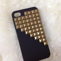 Bronze pyramid stud black iPhone 4/4S case by KatherineFang
