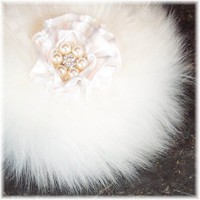 Handmade Powder Puff Pearl and Crystal Button Handle Natural Fiber