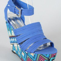 Bamboo Dorothy-03 Tribal Print Open Toe Wedge