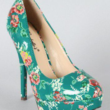 Breckelle Angie-47 Floral Round Toe Pump