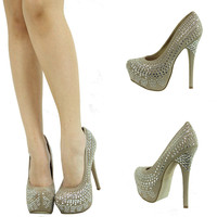 BEIGE TAUPE SILVER RHINESTONE STUD HIGH HEEL PLATFORM STILETTO WOMEN PUMP SANDAL