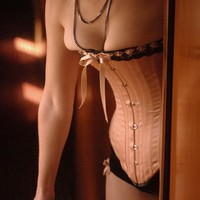 Victorian Corset, Wedding Lingerie, Peach and Black Overbust