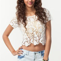 A'GACI Paisley Design Crochet Crop Top - TOPS