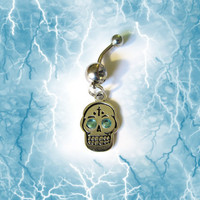 SALE-- Belly Ring, Skull Head with Crystal Blue Eyes, Belly Button Jewelry, For Her