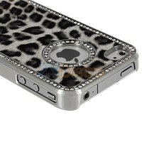 Luxury Bling Rhinestone Diamond Leopard Chrome Hard Case Cover For iPhone 4 G 4S