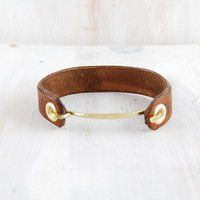 Leather and Brass Women's Cuff Jessi fail CANOE by failjewelry