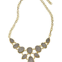 Max & Chloe - Andara Necklace Gold and Silver Druzy Bib Necklace - Max & Chloe
