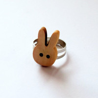 Rabbit Ring Kawaii Cute Wooden Bunny by KitschBitchJewellery