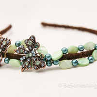 Butterflies and beads. headband for women,