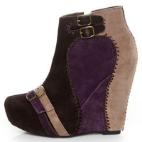 Restricted Ashbury Brown &amp; Purple Mutlicolor Suede Wedge Booties - &amp;#36;101.00