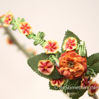 Peach flower headband, wedding hair acessory