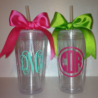 Personalized Monogrammed 16oz Tumbler by SouthernSassGSU on Etsy
