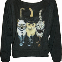 Hipster Cats in Boots Pullover Slouchy &quot;Sweatshirt&quot;  Top American Apparel Black M