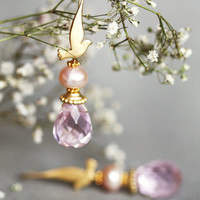 SINGING BIRD with pink faceted clear crystal by LakooDesigns