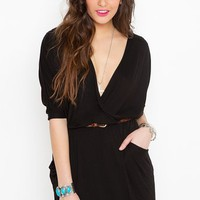 Draped Across Dress - Black in  What's New at Nasty Gal