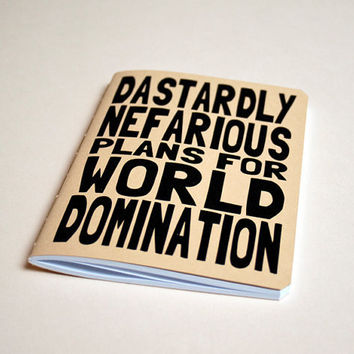 Handmade notebook World domination by purplecactusdesign on Etsy