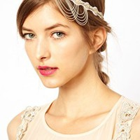 Deepa Gurnani Chain Drape Head Band at asos.com