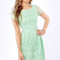 Genteel Breeze Backless Mint Lace Dress