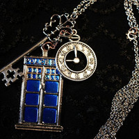 Doctor Who Tardis Necklace w/ Large Silver Key & Clock or Union Jack