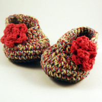 Red Ballet style crochet Booties with rose