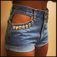 Sexy Peek-A-Boo Skull Pocket High-Waisted Shorts