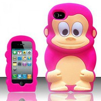IPHONE 4S 4 GEL SOFT COVER PHONE SKIN CASE 3D FAT PINK MONKEY ANIMAL ZOO