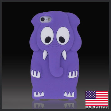 Cartoon Animal Elephant Purple silicon silicone soft case cover for iPhone 5 5G
