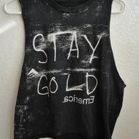 STAY GOLD Acid Wash Crop Top