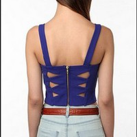 Sparkle & Fade Crop and Cut Out Bustier, XS Cobalt Blue