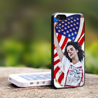Lana Del Rey America Flag - Print on Hard Cover For iPhone 4/4S Case and iPhone 5 Case (Black, White, Clear Colour Case)