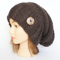Wool dark brown slouch hat women - beanies hat - Slouch Beanie - Large hat - chunky hat - Chunky Knit Winter Fall Accessories , Slouchy hat