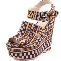 Caged Tribal Print Wedge Sandal: Charlotte Russe