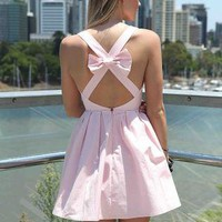 Light Pink Sleeveless Mini Dress with Open Cross Bow Back