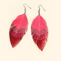 Sweetheart Chevron - Pink Glitter Faux Leather Feather Earrings