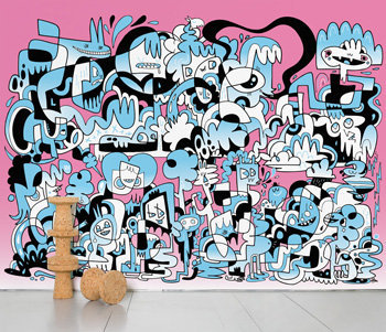 Jon Burgerman My world is pink and blue