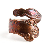 Vintage Copper Wrap Spoon Ring - Brown Flatware Adjustable Floral Jewelry / Flower Embossed