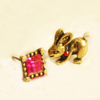 Exquisite Large Cubic Rhinestone&amp;Rabbit Asymmetrical Stud Earrings at Online Cheap Fashion Jewelry Store Gofavor