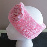 Womens Fashion Headband, Earwarmer Headband, Pink Headband, Ski Band, Rosette Headband, Yoga Hairband, Workout Headband, Pink Flower Band