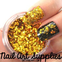 nailartsupplies | Gold Nuggets - Large Gold Nail Glitter Flakes Mix 3.5 Grams | Online Store Powered by Storenvy