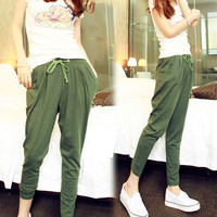 New Fashion Women Casual Harem Style Drawstring Elastic Waist Dot Pants