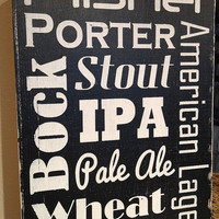 "Beer Subway Art Man Cave - Hand Painted Wood Sign - 9""x13"""