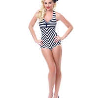 Black &amp; White Striped Dinah One Piece Swimsuit - Unique Vintage - Prom dresses, retro dresses, retro swimsuits.