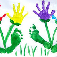 Learning As We Grow: Mothers Day Hand print Foot print Flowers