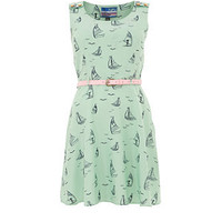 Yumi Mint Green Boating About Print Skater Dress