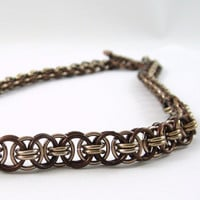 Chainmail Necklace Helm Parallel Weave Bronze and Champagne