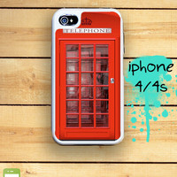 Capsule iPhone 4S / 4 Silicon and Hard Plastic 3 Part Phone Case / British Red Phone Booth Fits IPhone 4 and IPhone 4S