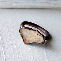 Copper Ring Topaz Crystal Cream Nougat Gem Stone Natural Raw Patina Artisan
