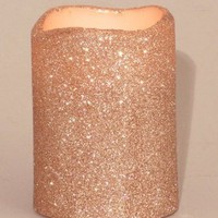 "LED Melted Wax Flameless Glitter Candle, Champagne in Color, 3""D x 4""H"