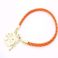 Toryburch style leather charm bracelet